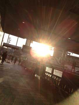 11日夕方の太陽。 雑踏の中でも太陽は同じ^^